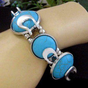 Fashion Faux Turquoise stretch Bracelet silvertone